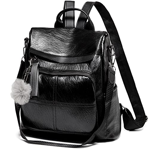 Backpack Womens, VASCHY Anti Theft Rucksack Purse for Ladies Water Resistant Faux Leather School Shoulder Bag with Fashion Tassel Black