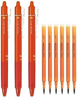 Pilot FriXion Ball Knock Retractable Erasable Gel Ink Pens, Extra Fine Point 0.7mm, Orange Ink, 3 Pens & 6 Refills Value Set