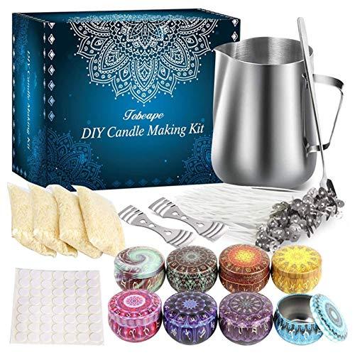 Kit per Candele DIY Kit, Kit per Creare Candele DIY Strumenti artigianali Stoppini di cera di soia Cucchiaio da miscelazione Set completo Adatto per rincipianti Strumento per Fare Candele