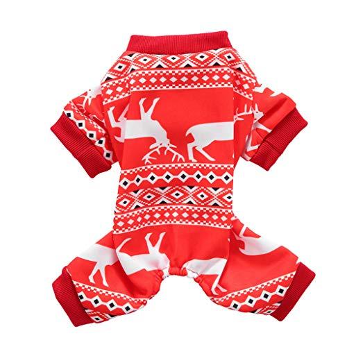 Yowablo Haustier Katze Hund Elch Print Weste Pullover Winter warme Kleidung Kleid Weihnachten (L,3- Rot)