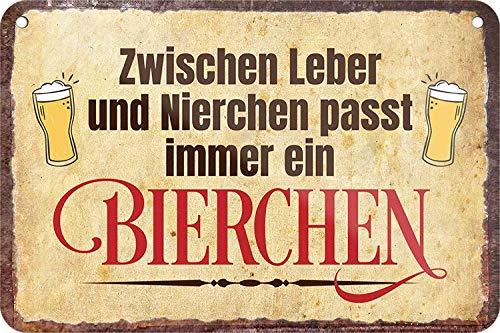 Cartel de chapa con texto en alemán 'ZWISCHEN Leber und NIERCHEN PASST Immer EIN Bierchen', para colgar en el bar o en el pub, idea de regalo para tu bebida y amigos 18 x 12 cm