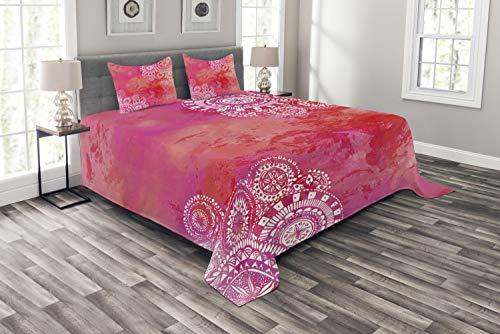 ABAKUHAUS Mandala zestaw narzuta na łóżko, azjatyckie etniczne, zestaw poszewek na poduszki, kołdra letnia, do łóżek dwuosobowych 264 x 220 cm, biała czerwień koralowa różowa