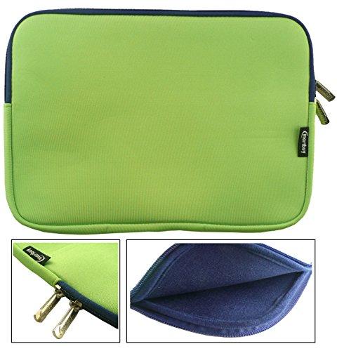 emartbuy® Grün/Blau Wasserdicht Neopren weicher Reißverschluss Kasten Abdeckung Sleeve Mit Blau Interieur&Zip geeignet für Acer Aspire One AO1-131 Cloudbook 11.6 Zoll (11.6-12.5 Zoll Laptop)
