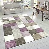 Paco Home Alfombra Diseño Moderna Perfil Contorneado Colores Pastel Cuadros Beige Lila, tamaño:120x170 cm