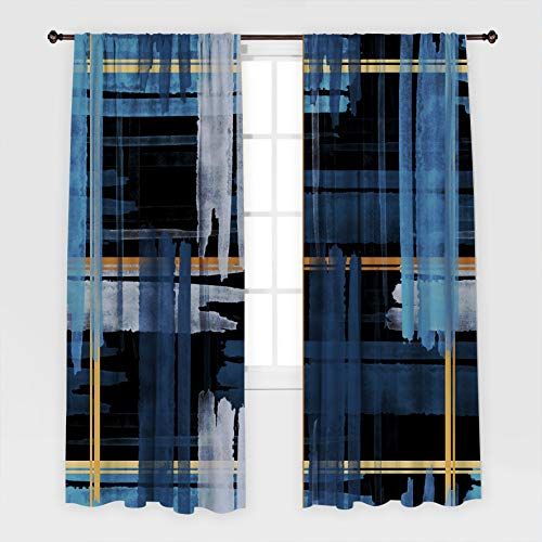Henge Home Artwork Printed Curtain/Thermal Insulated Drapes for Living Room Dining Room Bed Room with 2 Panel Set - Multiple Sized Brush Stripe Plai