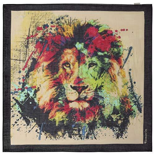 Tamaris Colourful Lion Tuch Schal Damenschal Sommerschal Damentuch Sommertuch (One Size - dunkelblau)
