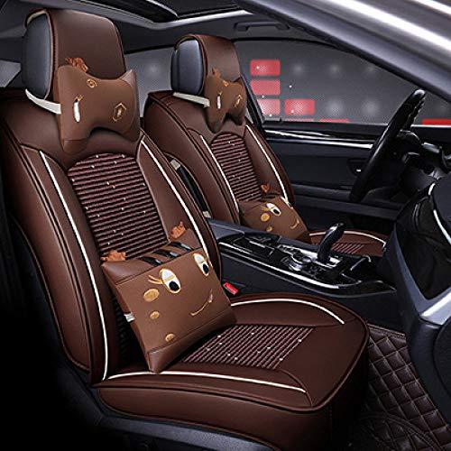 JINRYIGK Funda Universal para Asiento de Coche para Suzuki Todos los Modelos Jimny Grand Vitara Kizashi Swift Sx4 Wagon R Palette Stingray Auto Accesorios, marrón de Dibujos Animados