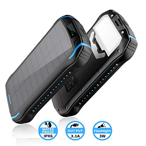 elzle Chargeur Solaire 26800mAh, Solar Power Bank 15W (5V / 3A) Sortie Charge Rapide étanche à l'eau (Deux Sorties USB 3.1A et Une Sortie Type-C) et Lampe de Poche à Del pour iOS, Samsung Galaxy, etc