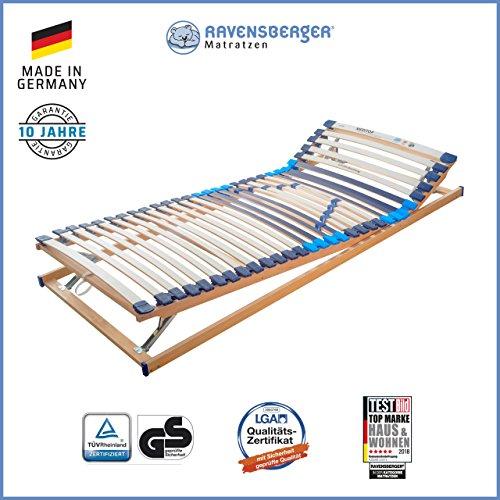 RAVENSBERGER MEDITOP 30-Leisten-Buche-Lattenrahmen | 5-Zonen-Buche-Lattenrahmen | Verstellbar | Made IN Germany - 10 Jahre GARANTIE | TÜV/GS + Blauer Engel - Zertifiziert | 90 x 200 cm