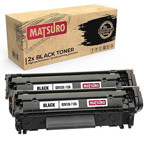 Matsuro Original | Compatible Cartucho de Toner Reemplazo para HP Q2612A 12A (2 Negro)
