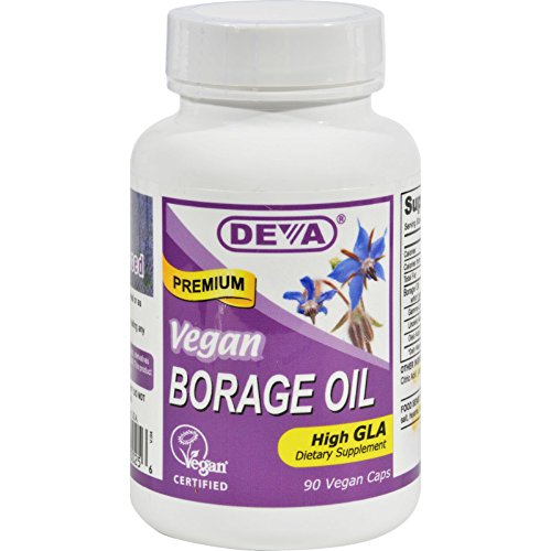 Deva Vegan Borage Oil - 500 mg - Omega-6 GLA - Gluten Free - 90 Vegan Capsules (Pack of 2)