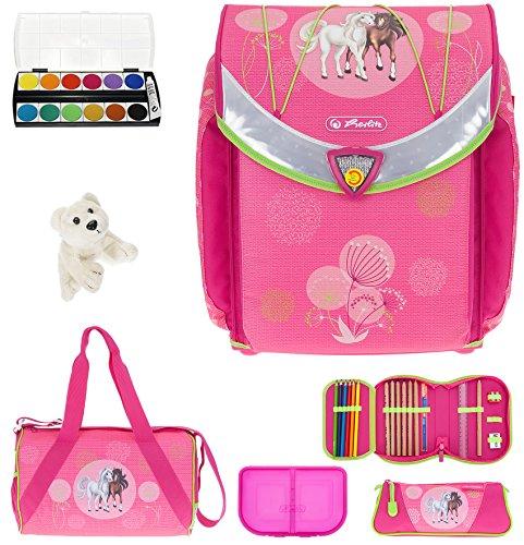 7 Set HERLITZ Flexi Plus Schulranzen Ranzenset Schultasche Mäppchen gefüllt + Sporttasche ek (Spring Horses (16))