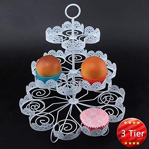 DUDDP Vassoio di Servizio 3 Tier Metallo Cupcake Stand Cupcake Albero Contiene 22 Cupcakes Muffin Pasticceria Stand for Wedding, Compleanno (Color : 3tier)