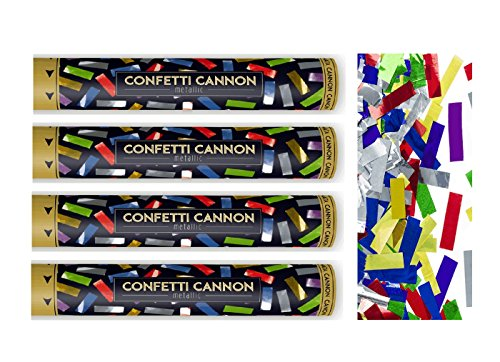 Feste Feiern Konfettikanone I 4 Teile Konfetti Shooter Streifen Bunt Metallic 40cm I Party-Popper Silvester Hochzeit Jubiläum Liebe