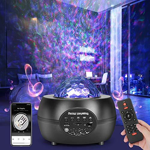 AHUIFT LED Sternenhimmel Projektor Ozeanwellen Nachtlich Lampe Einstellbarer Sternenprojektor mit Fernbedienung Eingebautem Bluetooth Musikplayer lichtprojektor Ocean Wave Sternen projektor