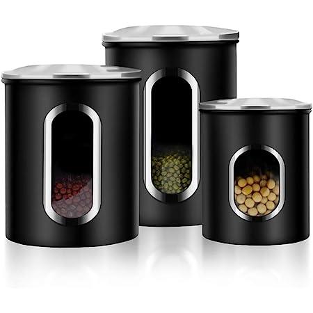 Amazon Com Canisters Set 3 Piece Window Kitchen Canister With Fingerprint Resistance Lids Black Home Improvement