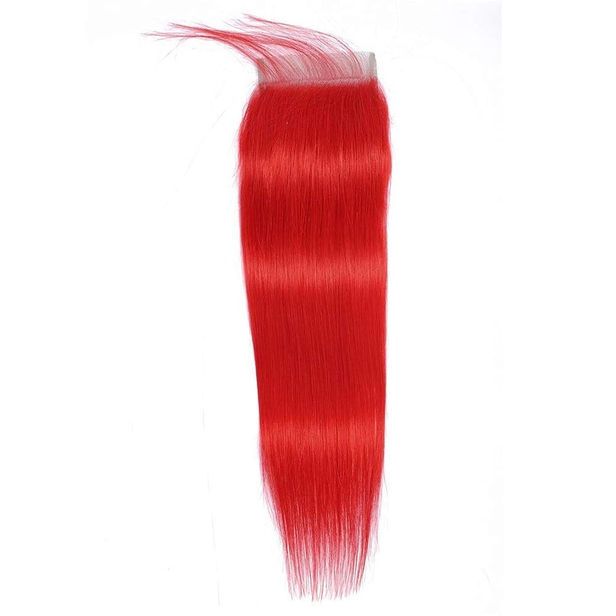 HOHYLLYA 4×4インチ赤ストレートヘアーレースの閉鎖ブラジルのバージン人間の髪の毛の閉鎖10インチ-16インチファッションかつら (色 : レッド, サイズ : 12 inch)
