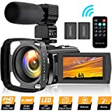 Video Camera Camcorder YouTube Vlogging Camera Recorder FHD 1080P 24.0MP 3.0 Inch 270 Degree Rotation Screen 16X Digital Zoom Camcorder with Microphone,Remote Control,Lens Hood and 2 Batteries
