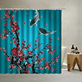 Cherry Blossoms Shower Curtain Asian Decor Teal, Spring Watercolor Blooming Red Plum Koi Japanese Ink Painting ,Oriental Traditional Antique Floral Fabric Polyester 70 X 70 (Turquoise, 70 X 70 Inch)