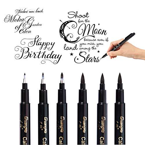 Calligrafia Pennarelli, 6 Brush Pen Lettering, Fine Line Point per Schizzi Disegno Comic Manga Scrapbooking Journal Calligrafia Pittura