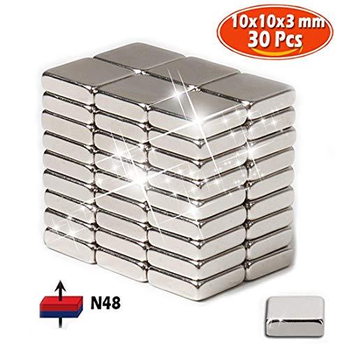 30 pieza Neodimio Imán 10x3 mm Unidad imán Extrem Fuerte 2,5 kg de fuerza, N48 Mini Imanes Neodimio Raro Tierra