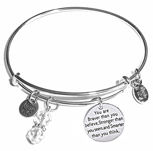 Women's Stainless Steel Message Charm Expandable Wire Bangle Bracelet, Very Popular and Stylish, Arrives in a Gift Box. (You are Braver than you believe, Stronger, Smarter)