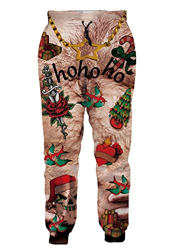 Mens Personalized Graphic Prints Jogger Pants Exercise Working Out Sweatpants Ugly Christmas Hohoho Hairy Chest Vintage Retro Style Ankles Trousers for Brother Softball Baseball