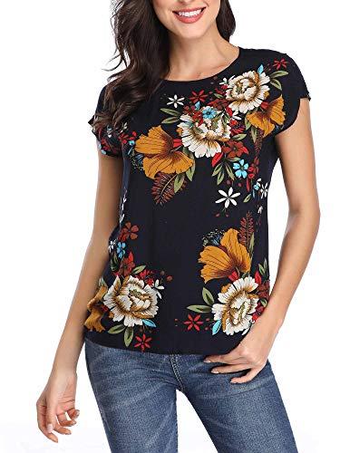 MSBASIC Bluzka damska top, letnia bluzka z kwiatami, rękawy skrzydełkowe, do pracy, okrągły dekolt