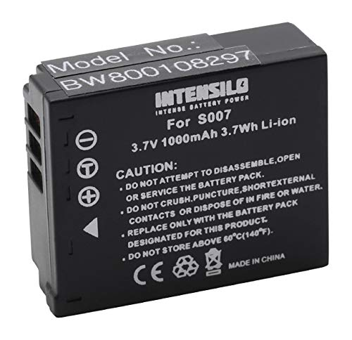 INTENSILO Li-Ion batería 1000mAh (3.7V) para cámara de vídeo Panasonic Lumix DMC-TZ1, DMC-TZ2, DMC-TZ3 por CGA-S007, CGA-S007E, DMW-BCD10.