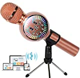 Karaoke Microphone Wireless Bluetooth Microphone for Kids Portable Handheld Karaoke Machine Home Party with LED Lights Duet Singing Recording for Android iPhone iPad Sony PC - 1PCS (Rose Gold)