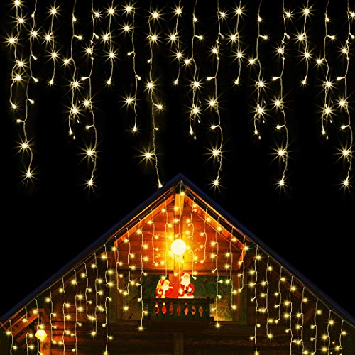 Blissun 360 LED Icicle Lights, 29.5FT 8 Modes Curtain Fairy Lights with 60 Drops, Christmas Outdoor String Lights for Wedding Halloween Thanksgiving Party Home Garden Indoor Decorations (Warm White)