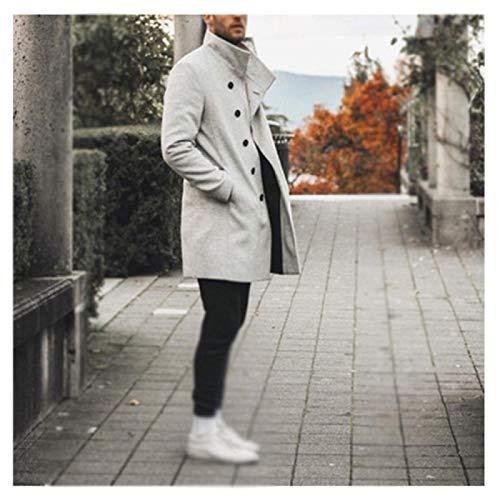 ZEIYUQI Gabardina De Invierno para Hombre Abrigo De Lana De Cuello Alto De Longitud Media Suave Y Transpirable Cómodo,White-Medium