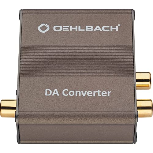 Oehlbach DA Converter - Digital/Analog Audiowandler - Koaxial/Optisch, R-L/Klinke - Cirrus Logic Chip, Metallic Braun