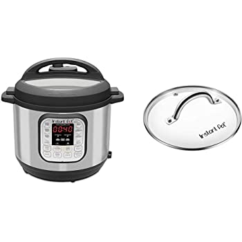 Instant Pot Duo 7-in-1 Electric Pressure Cooker, Sterilizer, Slow Cooker, Rice Cooker, Steamer, Saute, Yogurt Maker, and Warmer, 8 Quart, 14 One-Touch Programs & 8 Quart Glass Lid