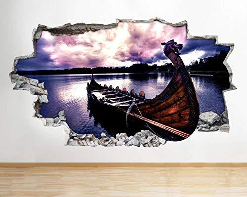 F360 Coole Wikinger Boot See Kanu zertrümmert Wandtattoo 3D Kunst Aufkleber Vinyl RoomLarge