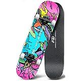 M-YN Skateboard niño Skateboard Completo, 31'x8 Skateboards para Niños para Niños, 7 Capas Canadienses Arce Doble Patada Cubierta Concave Cruiser Trick Skate Board(Color:Rojo)
