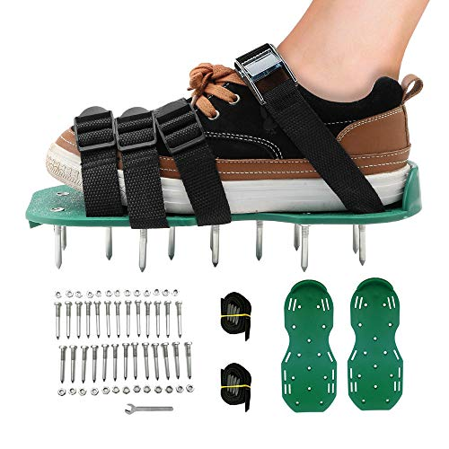 KleeTrend Lawn Aerator Shoe Spikes Adjustable Straps Ventilation Spike Shoes Heavy Duty Metal Buckle Air Grass Shoes One Size Fits All Ventilated Shoes for Soil Breathe