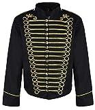 Ro Rox Herren Steampunk Napoleon Offizier Parade Jacke - Schwarz & Gold (Herren L)