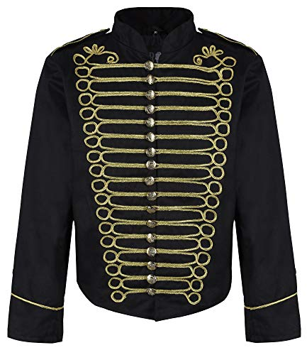 Ro Rox Men's Punk Officer Military Drummer Parade Jacket - Black & Gold (Men's S)