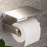 YIGII - Portarrollos de papel higiénico adhesivo con estante montado en la pared para baño, acero inoxidable