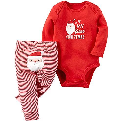Bebé Navidad Trajes 2 Piezas Manga Larga Monos and Pantalones Niños Niñas Mameluco de Algodón Conjunto de Ropa 6-9 Meses
