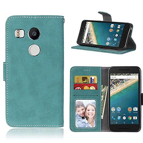 pinlu Hohe Qualität Retro Scrub PU Leder Etui Schutzhülle Für LG Google Nexus 5X Lederhülle Flip Cover Brieftasche Mit Stand Function Innenschlitzen Design Blau