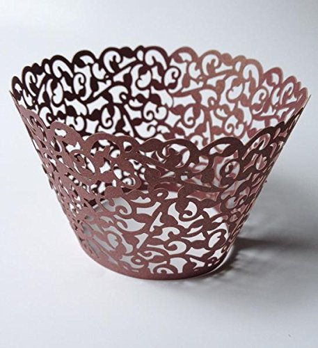 12 pcs Classic Filigree Lace Cupcake Wrapper for Standard Size Cupcake Liners Wrappers (Choose Color) (Bronze)