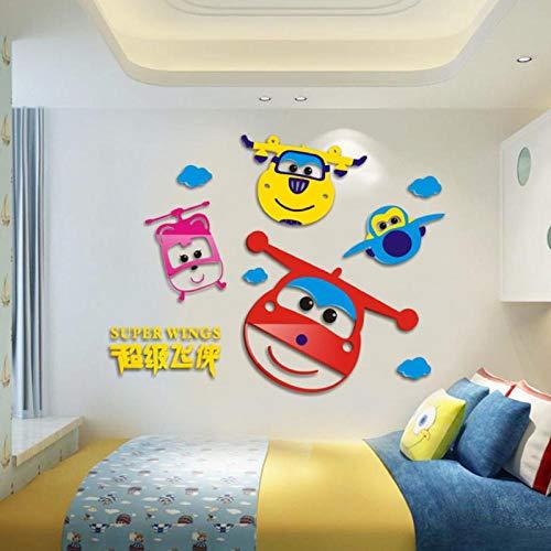 artaslf Dibujos animados en 3D Super Wings calcomanías de acrílico pegatinas de pared adhesivas Mural decoración del hogar niños dormitorio infantil regalo de cumpleaños 80x62cm