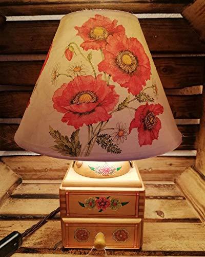 Dekorative Tischlampe aus Kaffeemühle mit Stoffschirm Handarbeit Unikat Tischleuchte