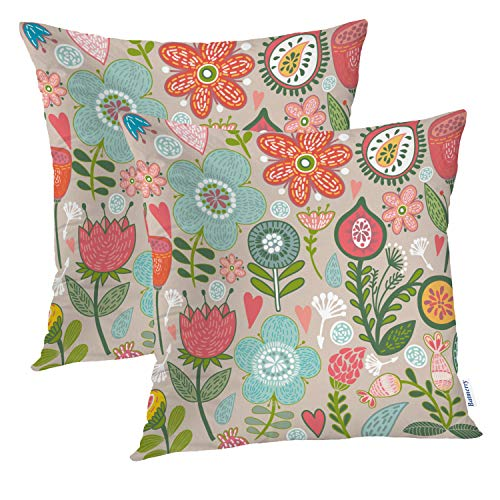 Batmerry Spring Pillows Decorative Throw Pillow Covers 18x18 Inch Set of 2, Floral Abstract Elegance Flower Modern Fantasy Celebration Scroll Double Sided Square Pillow Cases Pillowcase Sofa Cushion
