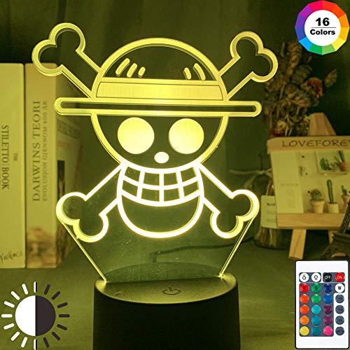 Luces de ilusión 3D,16 colores Acrílico Plano LED Touch Sensor Lámpara Cargador usb luz nocturna casa oficina decoració,Regalo de cumpleaños de Navidad,One-piece logo