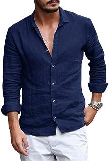 Runcati Mens Button Down Shirt Linen Cotton Shirts Casual Long Sleeve Spread Collar Lightweight Beach Plain Tops