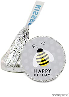 Andaz Press Chocolate Drop Labels Stickers, Birthday, Bee Bumblebee Happy Beeday!, 216-Pack, for Hershey's Kisses Party Favors, Gifts, Decorations
