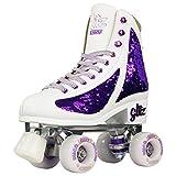 Crazy Skates Glitz Roller Skates for Women and Girls - Dazzling Glitter Sparkle Quad Skates - Purple (Size 2)